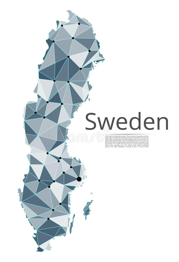 Sweden communication network map. Vector low poly image of a global map with lights in the form of cities. Or population density consisting of points and shapes royalty free illustration