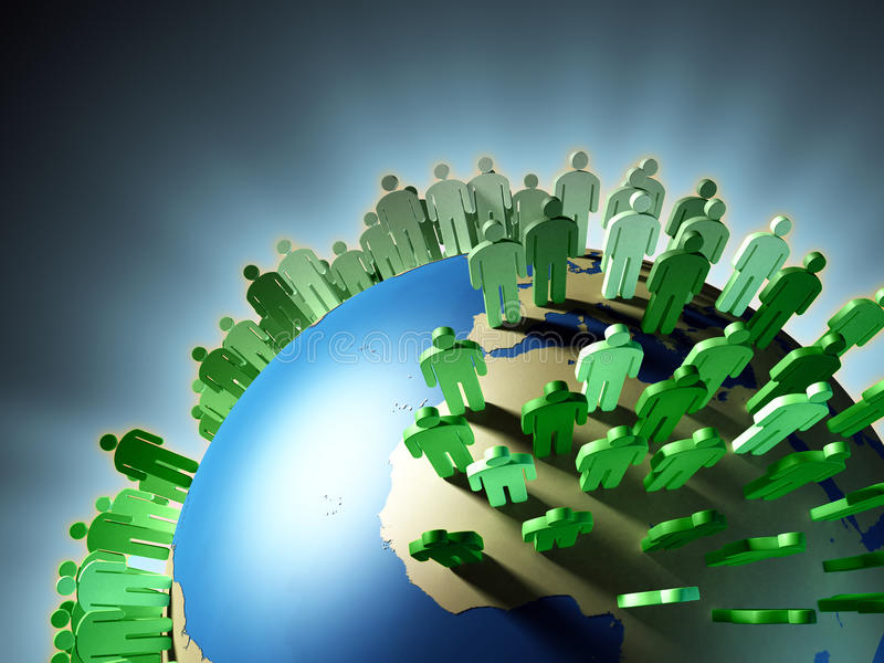 Population growth. World population rise and Earth overcrowding. Digital illustration