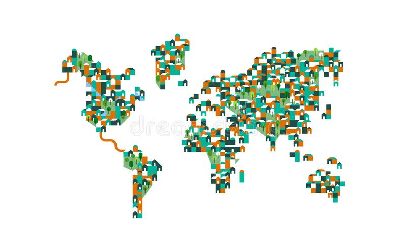 Population world map of houses and green tree parks royalty free illustration