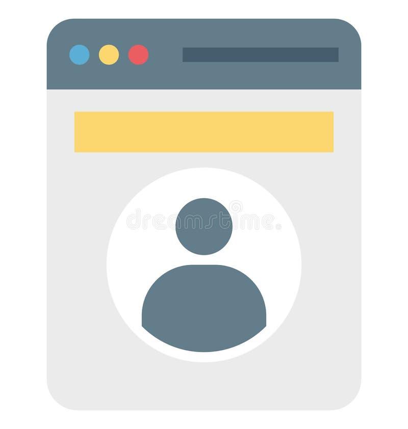 Popup profiel, het Vector editable Pictogram van het Webprofiel royalty-vrije illustratie