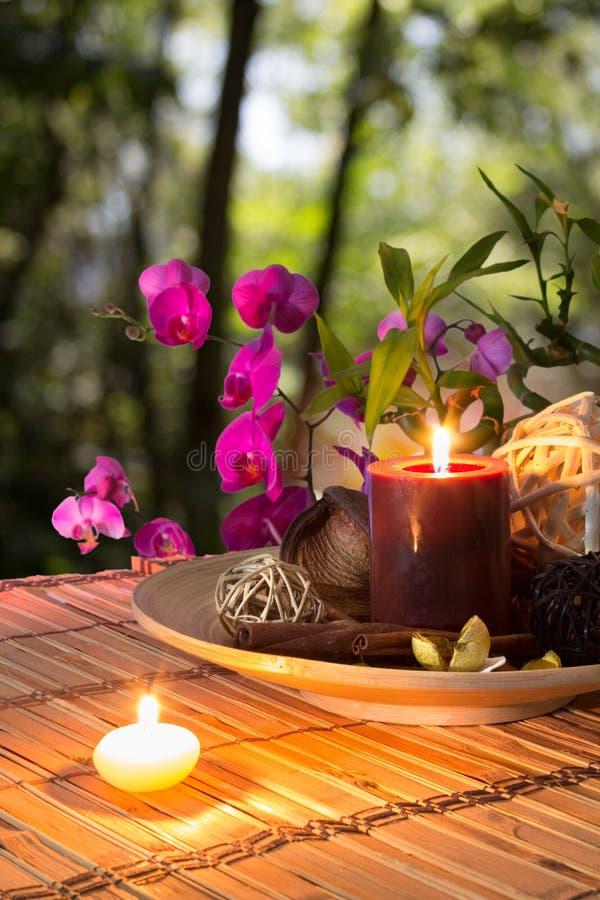 Popurrí, puchar, świeczki i orchidea, - w lesie zdjęcia royalty free