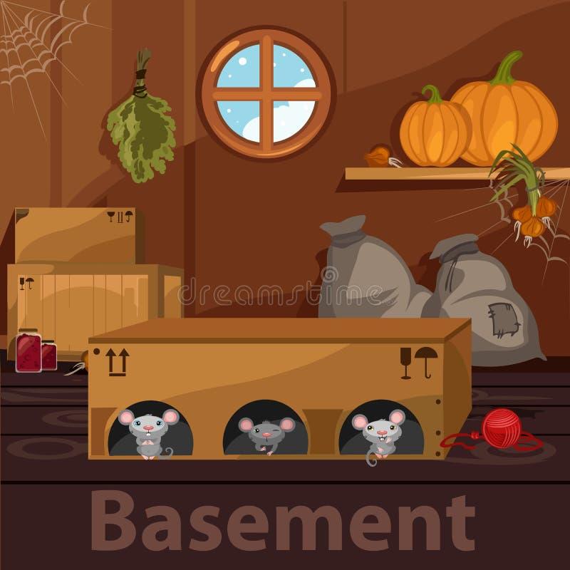 Porão home com roedores, caixas e alimento ilustração do vetor