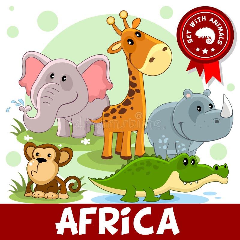 1 porção Animais de África ilustração do vetor