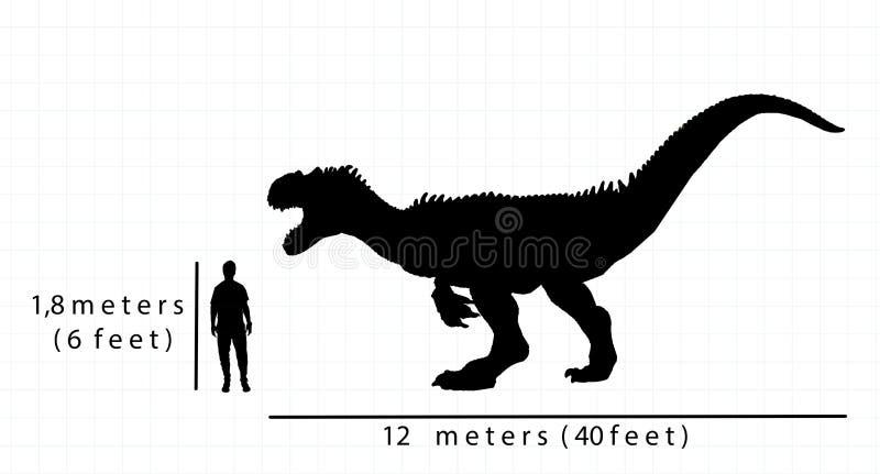 Porównanie allosaurus rozmiar z istoty ludzkiej rozmiarem ilustracja wektor