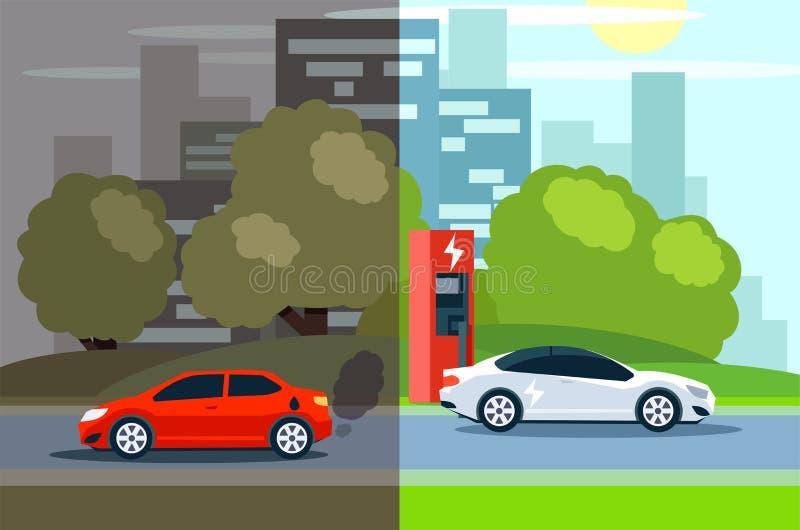 Porównanie między elektrycznym ekologicznie benzynowym i życzliwym zanieczyszczanie samochodem ilustracja wektor