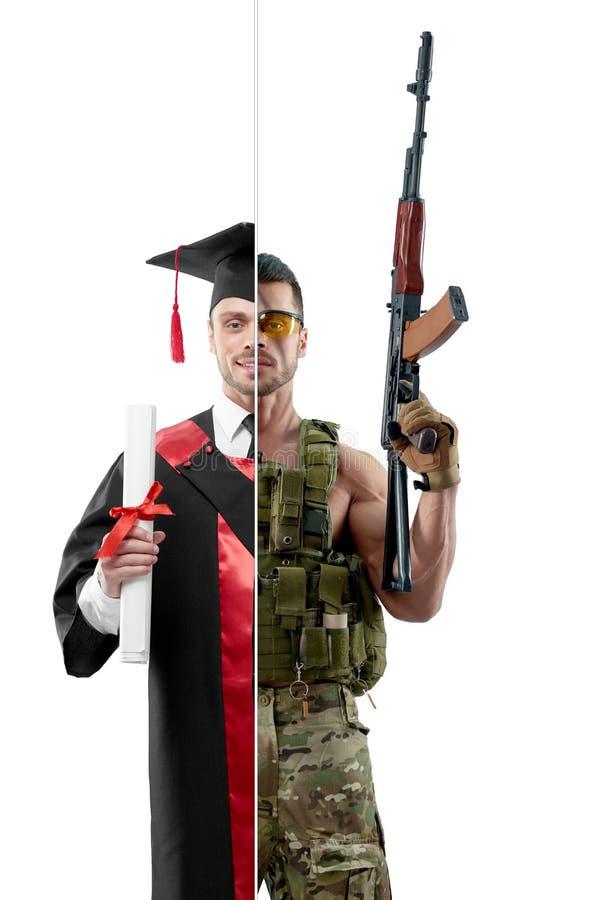 Porównanie uniwersytecki ` s absolwent i wojskowy obrazy stock