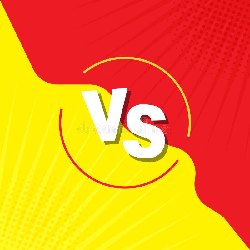 Porównujący ekran Walki tło przeciw siebie, kolor żółty przeciw czerwieni VS retro styl w, wystrzał sztuka, rocznik Dla komiczek royalty ilustracja