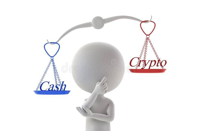 Porównuje gotówkowe i crypto waluty royalty ilustracja