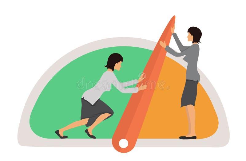 Porównywać z normą pojęcie ilustrację Dwa szybkościomierza, kobiety, manometr lub ogólni wskaźniki z igłami i, wektor ilustracji
