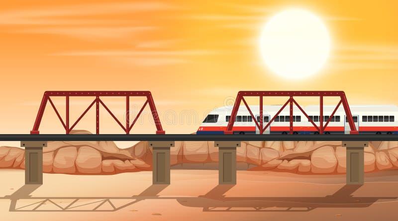 Poręcz przy pustynną sceną ilustracji