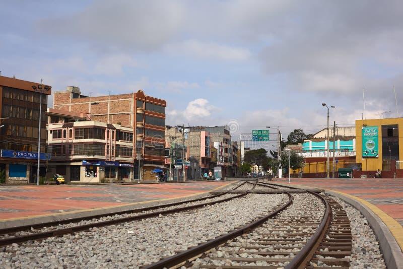 Poręcze prowadzi z dworca Riobamba zdjęcie stock