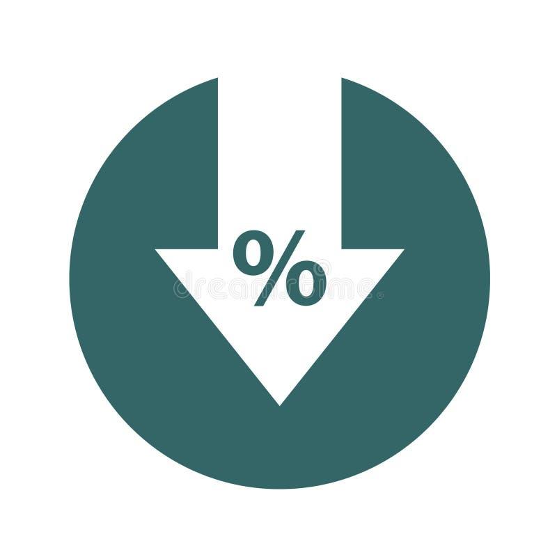 Por cento abaixo da linha ícone Porcentagem, seta, redução Conceito da operação bancária ilustração royalty free