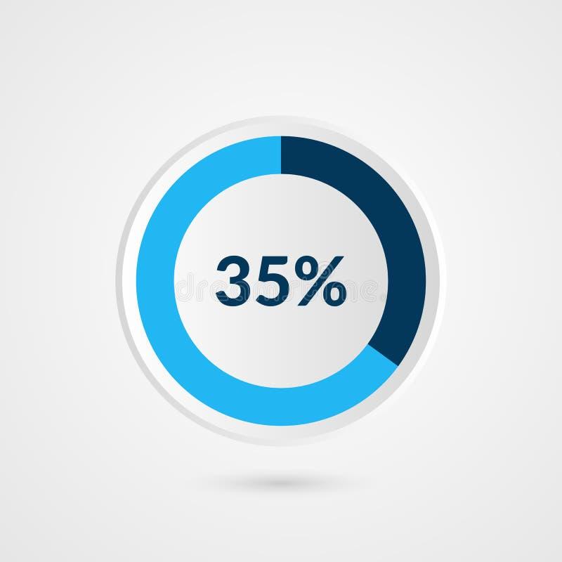 35 por cento carta de torta de cinza azul e de branco Infographics do vetor da porcentagem Ilustração do negócio do diagrama do c ilustração do vetor