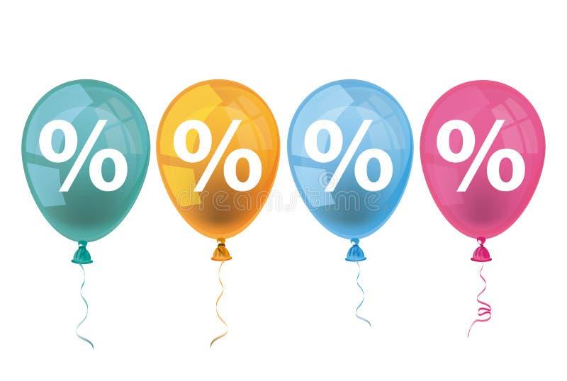 4 por cento coloridos dos balões ilustração stock