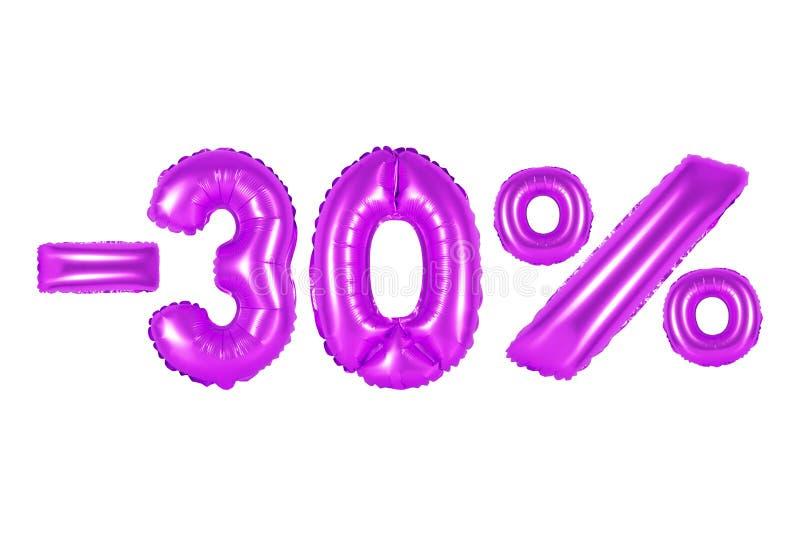 30 por cento, cor roxa imagens de stock