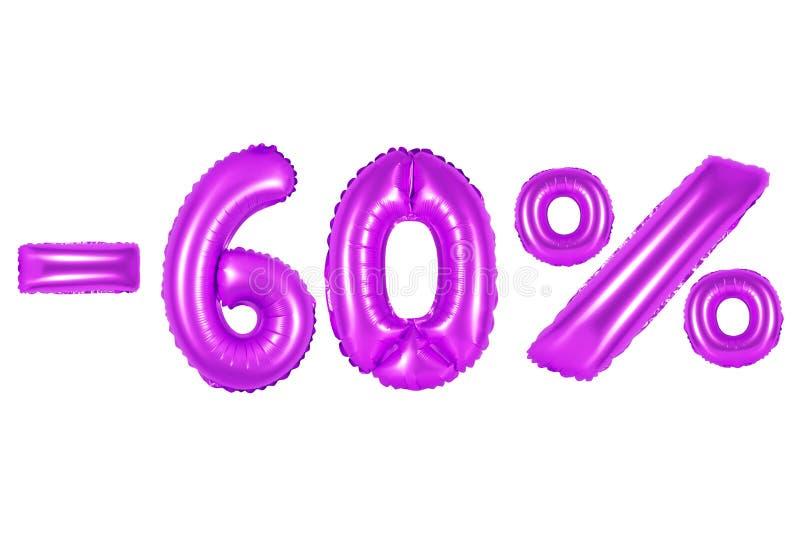 60 por cento, cor roxa fotos de stock