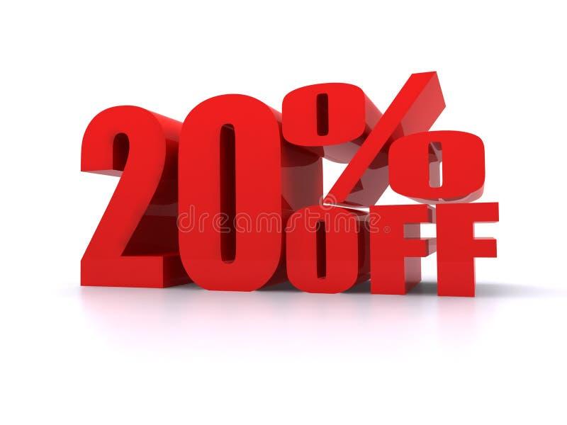 Por cento de 20% fora do sinal relativo à promoção ilustração do vetor
