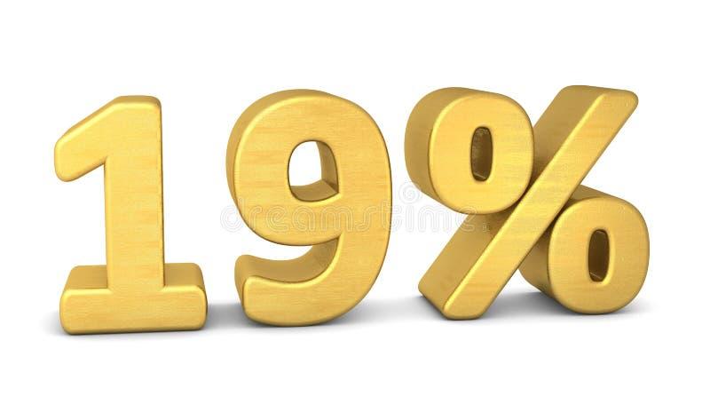 19 por cento de ouro do símbolo 3d ilustração royalty free