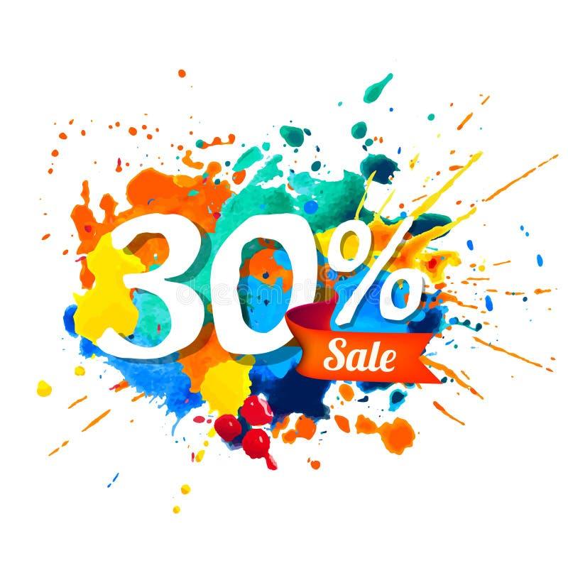 30 por cento de venda Pintura do respingo ilustração royalty free