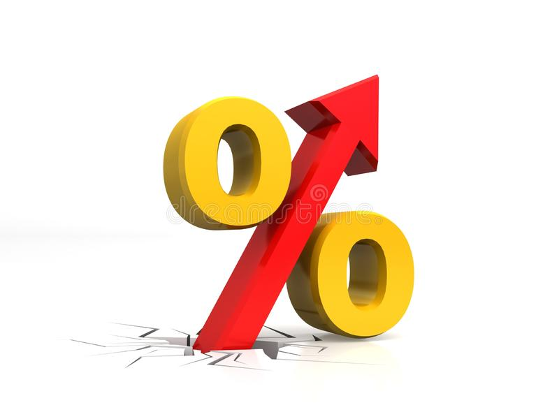 Por cento do crescimento, acima, por cento do aumento com seta ascendente, com assoalho quebrado, rendição 3D isolada no fundo br ilustração royalty free