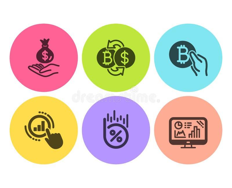 Por cento do empréstimo, dinheiro da renda e de carta do gráfico grupo dos ícones Troca de Bitcoin, pagamento de Bitcoin e de grá ilustração do vetor