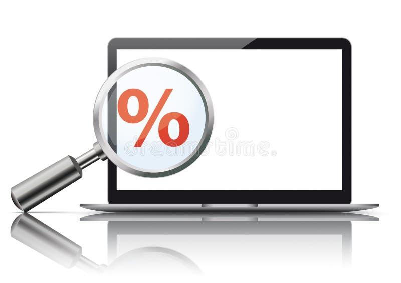 Por cento do vermelho do espelho do modelo da lupa do caderno ilustração do vetor