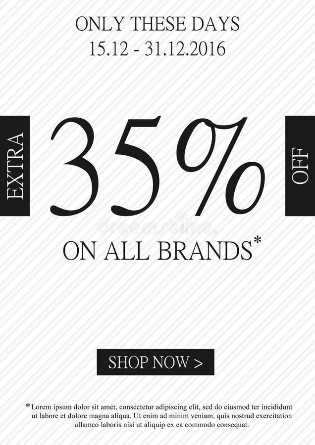 Por cento extra relativos à promoção do vetor fora da bandeira ilustração stock