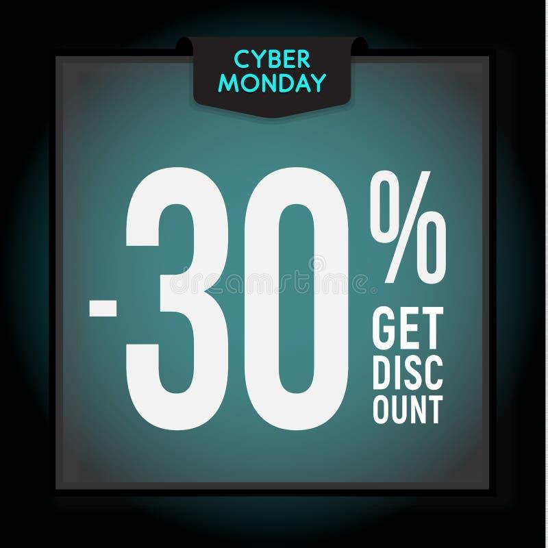 30 por cento fora disconto do feriado Venda de segunda-feira do Cyber Molde moderno da bandeira para anunciar Ilustra??o do vetor ilustração royalty free