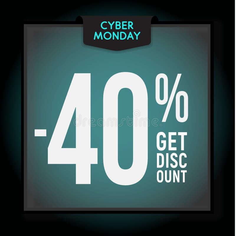 40 por cento fora disconto do feriado Venda de segunda-feira do Cyber Molde moderno da bandeira para anunciar Ilustra??o do vetor ilustração royalty free