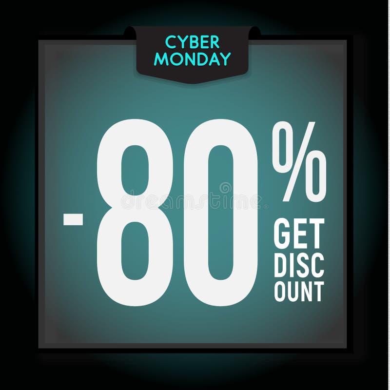 80 por cento fora disconto do feriado Venda de segunda-feira do Cyber Molde moderno da bandeira para anunciar Ilustra??o do vetor ilustração royalty free