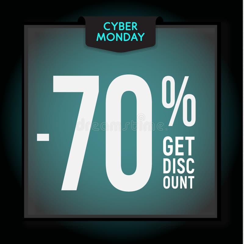 70 por cento fora disconto do feriado Venda de segunda-feira do Cyber Molde moderno da bandeira para anunciar Ilustra??o do vetor ilustração stock