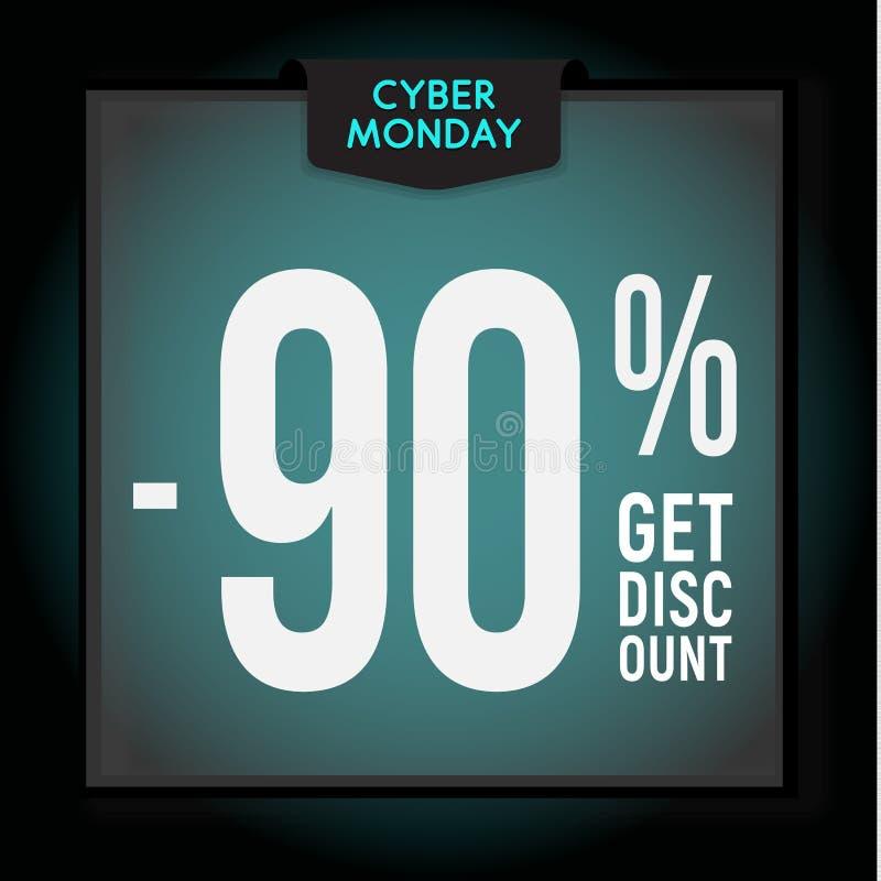 90 por cento fora disconto do feriado Venda de segunda-feira do Cyber Molde moderno da bandeira para anunciar Ilustra??o do vetor ilustração do vetor
