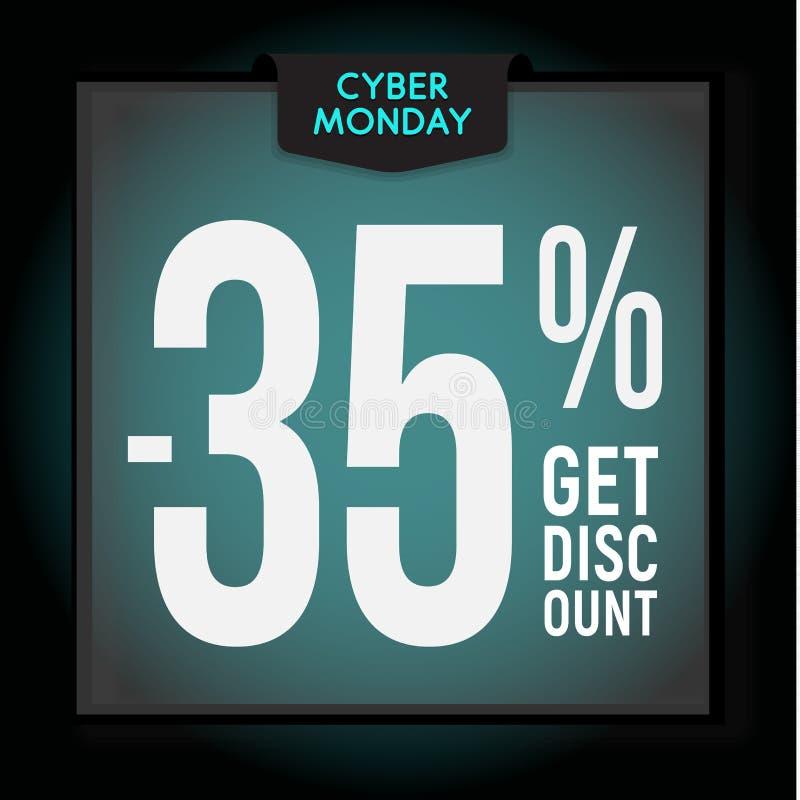 35 por cento fora disconto do feriado Venda de segunda-feira do Cyber Molde moderno da bandeira para anunciar Ilustra??o do vetor ilustração do vetor