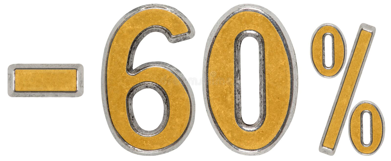 Por cento fora disconto Menos 60, sessenta, por cento Numeral do metal, foto de stock royalty free