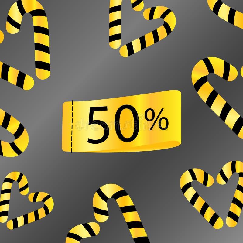 50 por cento fora do fundo cinzento do ouro do tempo limitado do desconto da venda ilustração royalty free