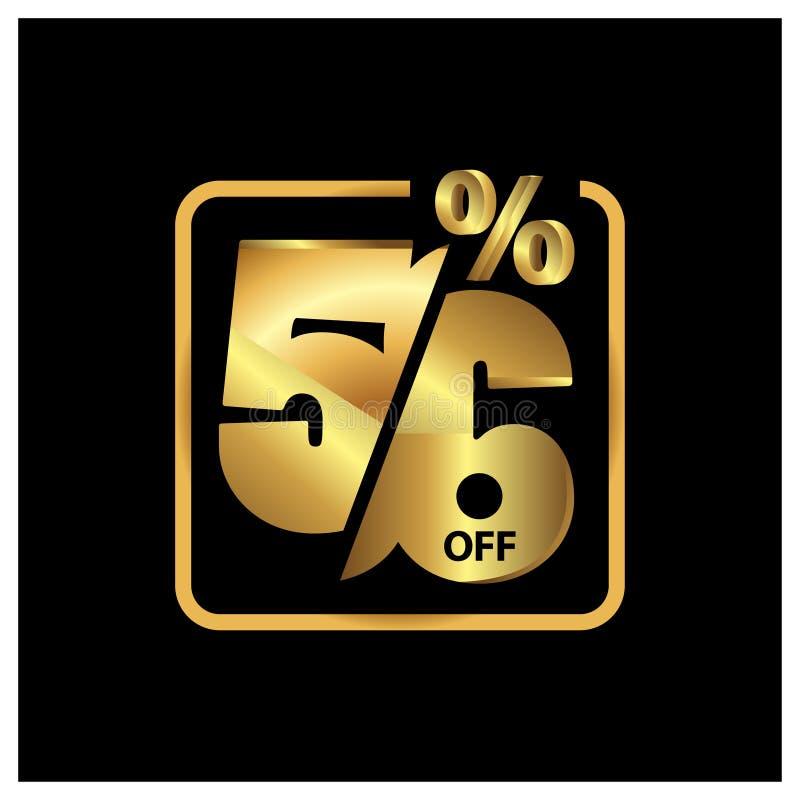 56 por cento fora do ouro da promoção de venda, vetor ?cone conservado em estoque ilustração stock
