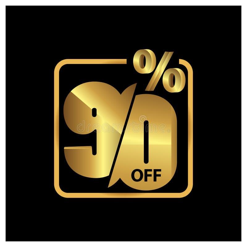 90 por cento fora do ouro da promoção de venda, vetor ?cone conservado em estoque ilustração do vetor