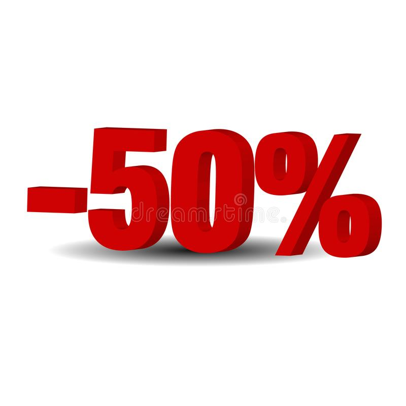 50 por cento fora, fundo da venda, objeto 3D ilustração royalty free