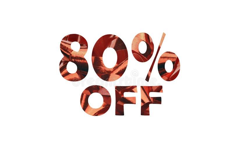 80 por cento fora representados simbolicamente com o texto cortado 80% fora foto de stock royalty free