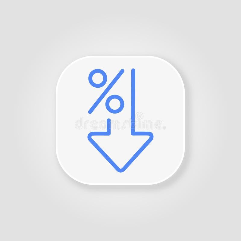Por cento lisos abaixo da linha azul do ícone Porcentagem, seta, redução no fundo cinzento com sombra macia ilustração do vetor