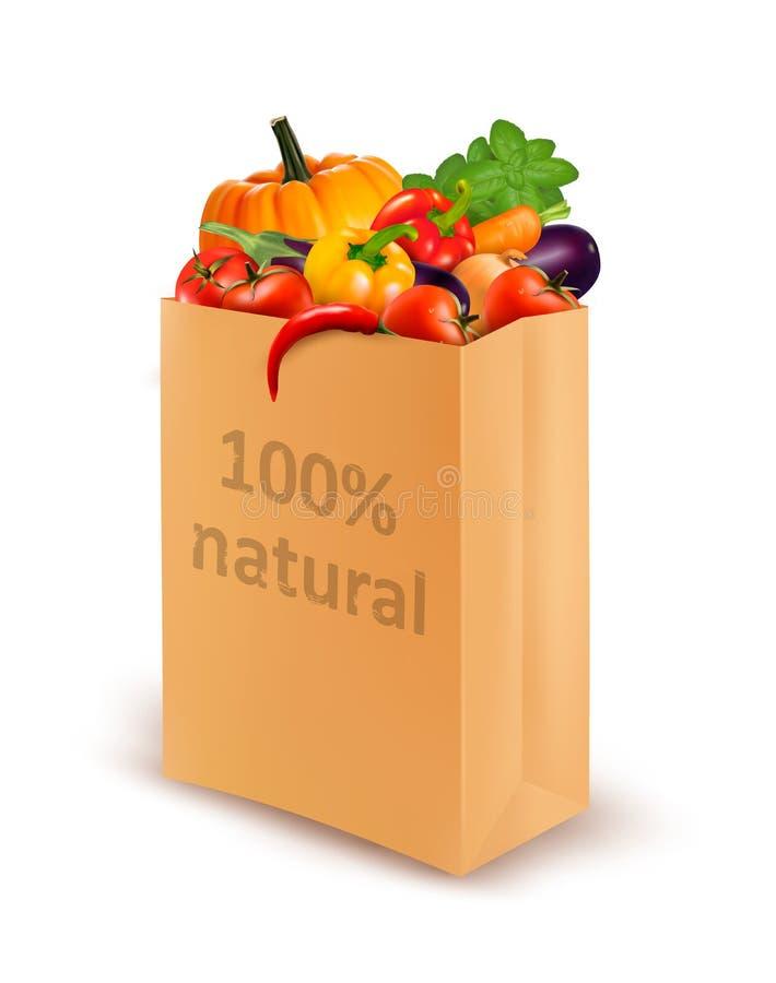 100 por cento natural em um saco de papel completamente de v fresco ilustração do vetor