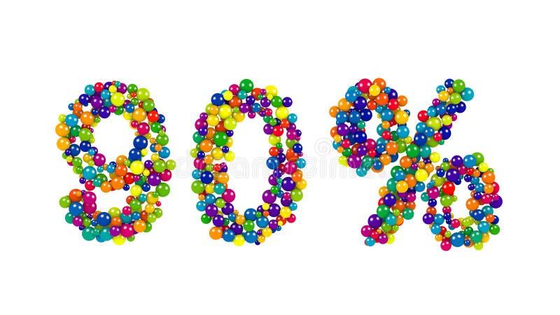 90 por cento noventas assinam dentro cores vibrantes ilustração stock