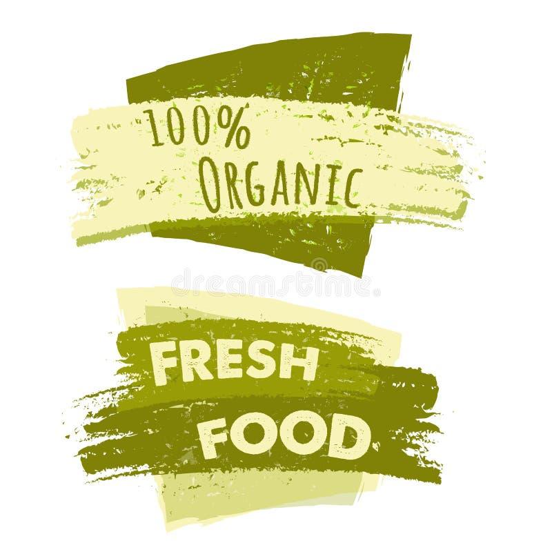100 por cento orgânico e alimentos frescos, duas bandeiras tiradas ilustração stock