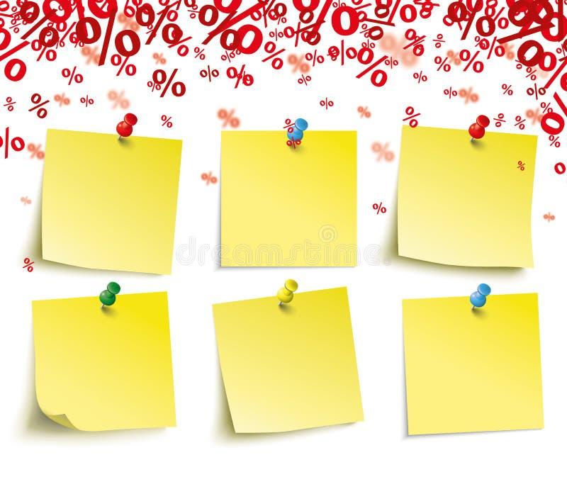 Por cento vermelhos das varas amarelas ilustração royalty free