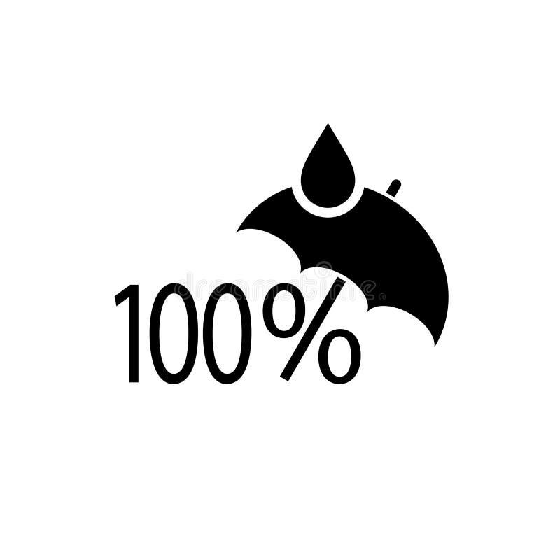 100 por cento waterproof o símbolo do vetor ilustração royalty free
