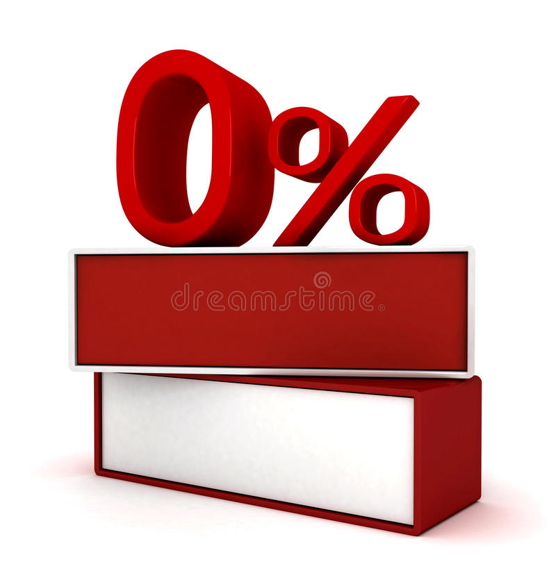 Por cento zero do vermelho ilustração do vetor