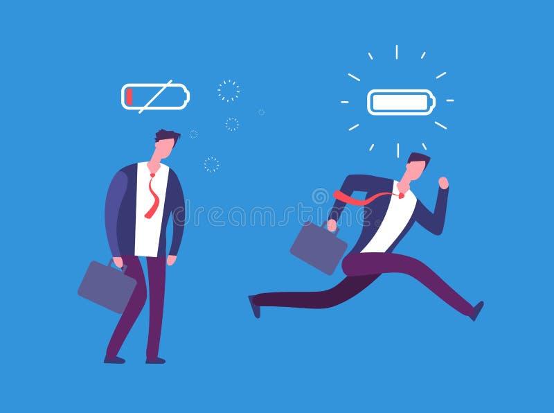 Por completo de la energía y del hombre de negocios cansado Persona potente y plana con la carga completa y la batería uncharged  ilustración del vector