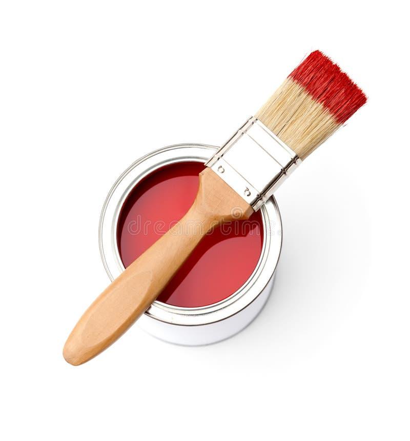 Por completo del estaño rojo de la pintura, brocha imágenes de archivo libres de regalías