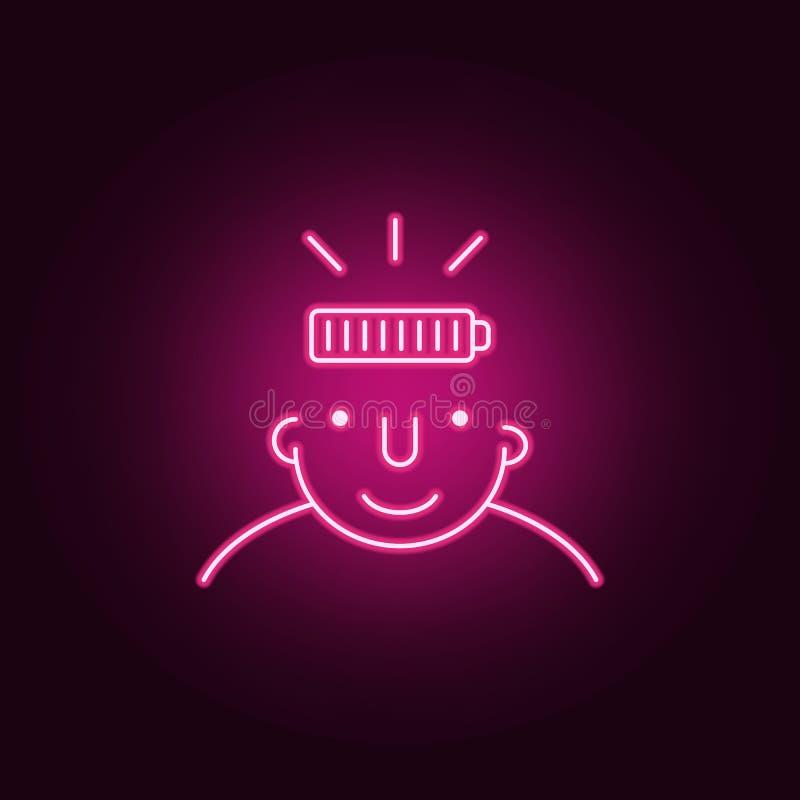 por completo en icono de la mente Elementos de cuál está en su mente en los iconos de neón del estilo Icono simple para las págin stock de ilustración