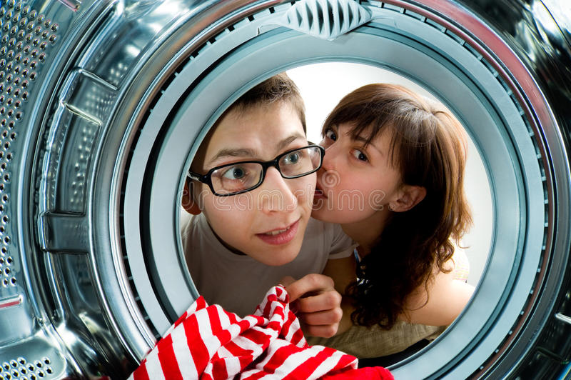 Por dentro de la opinión de la lavadora. imagenes de archivo